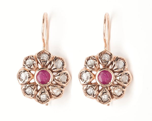 Vintage Flower Drops - Ruby Center with Rose Cut Diamonds