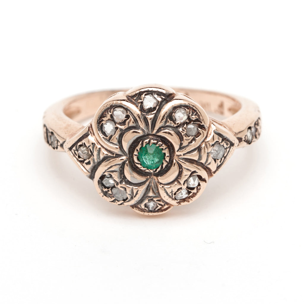 Vintage Flower Ring - Emerald Center with Rose Cut Diamonds