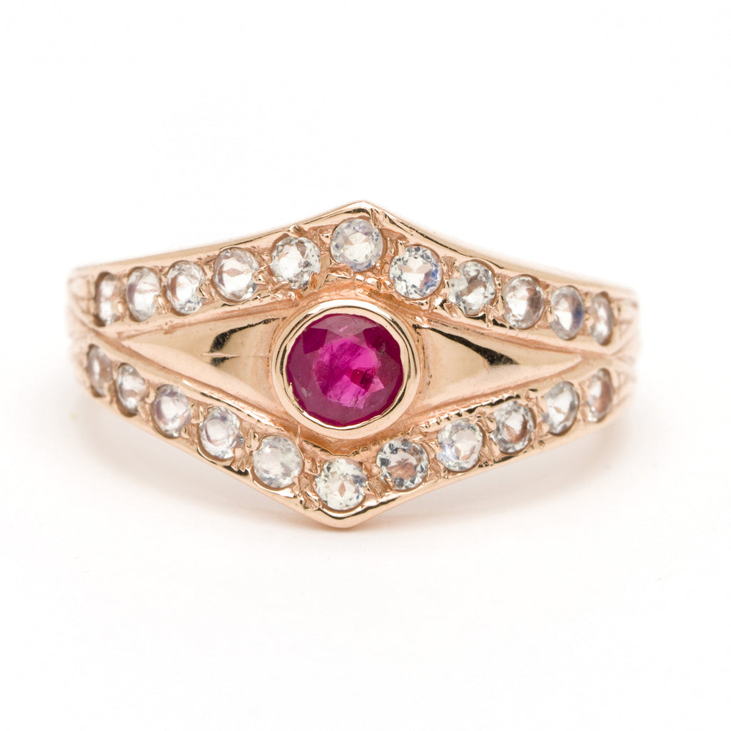 Tiara Evil Eye Ring - Ruby with Moonstone