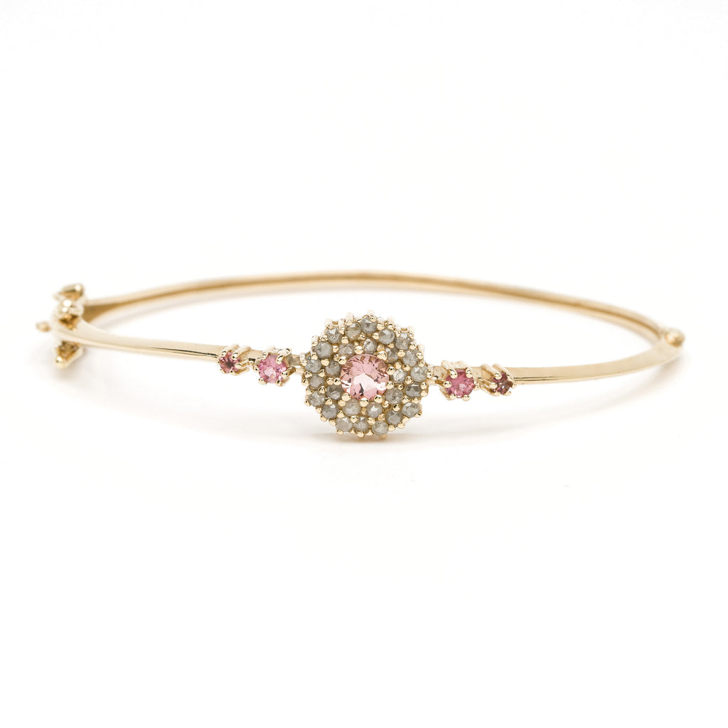 Flora Bangle -Tourmaline with Diamond YG