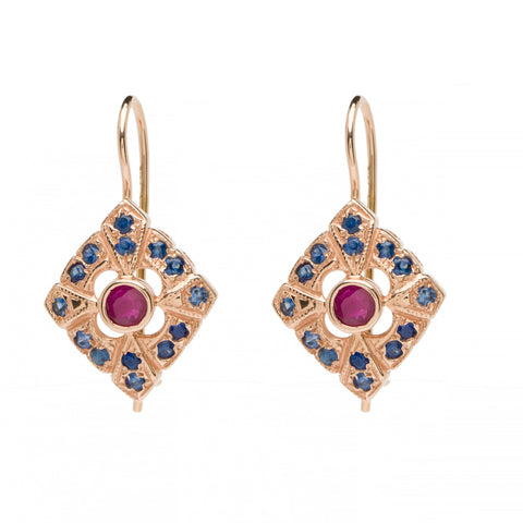 Deco Rhombus Drops - Ruby with Sapphire