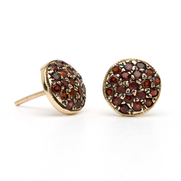 Button Studs - Garnet Yellow Gold