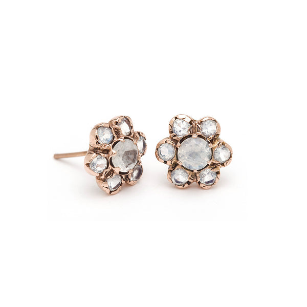 Blossom Stud Earrings - Moonstone