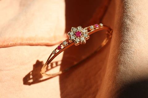 Lotus Bangle - Alternating Ruby with Diamond