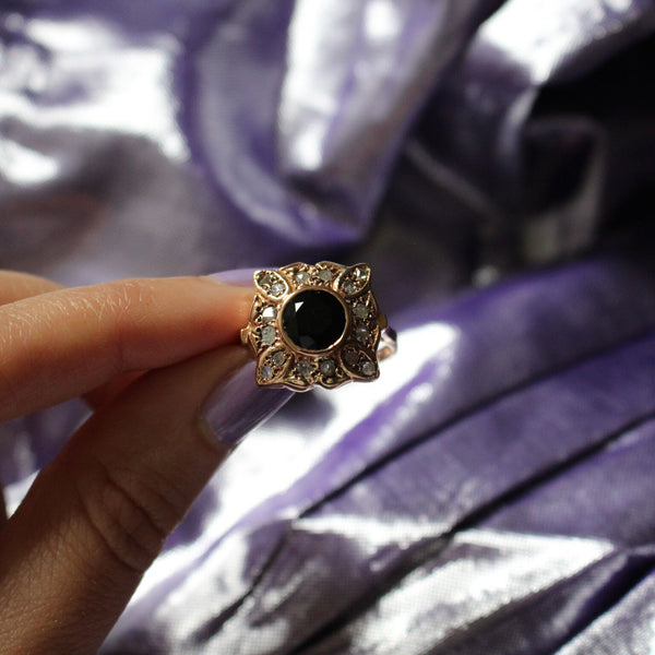 Center Compass Ring - Sapphire with Diamond