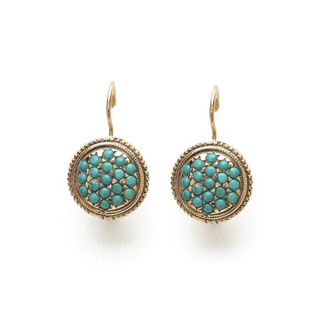 Needlepoint Drop Earrings - Turquoise