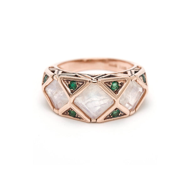 Geometric Ring - Moonstone with Emerald
