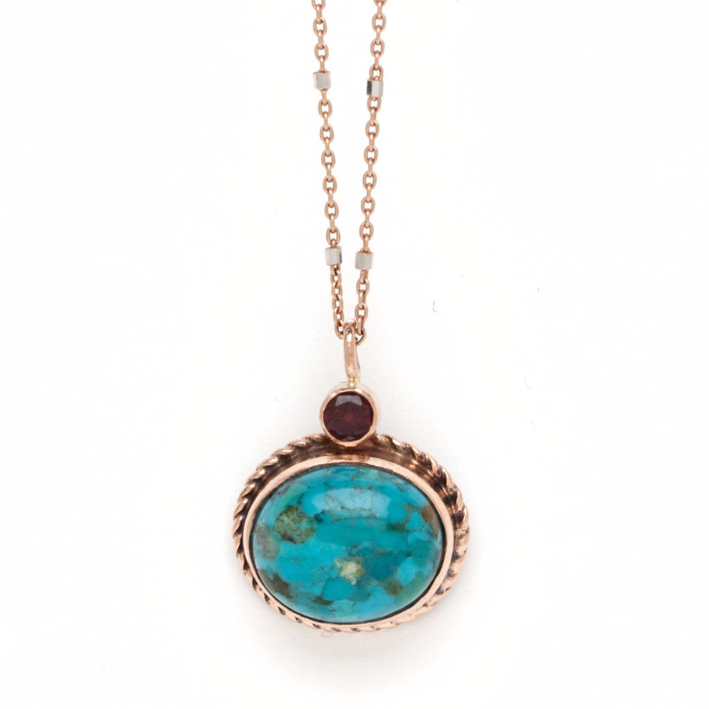 Oval Turquoise with Garnet Accent Pendant