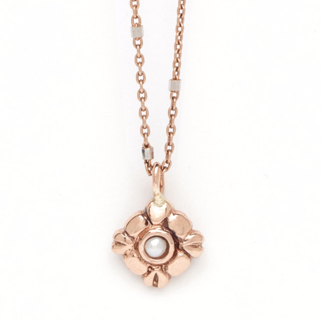 Petite Diamond-Shaped Pendant - Pearl