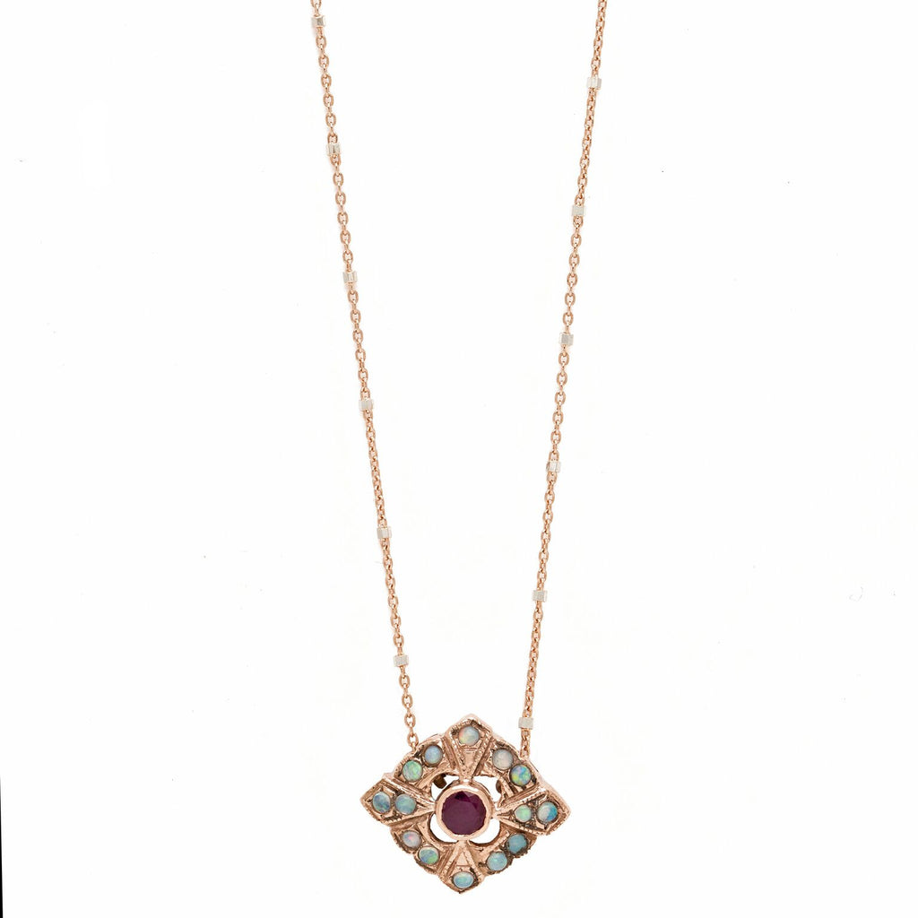 Deco Rhombus Pendant - Ruby with Opal
