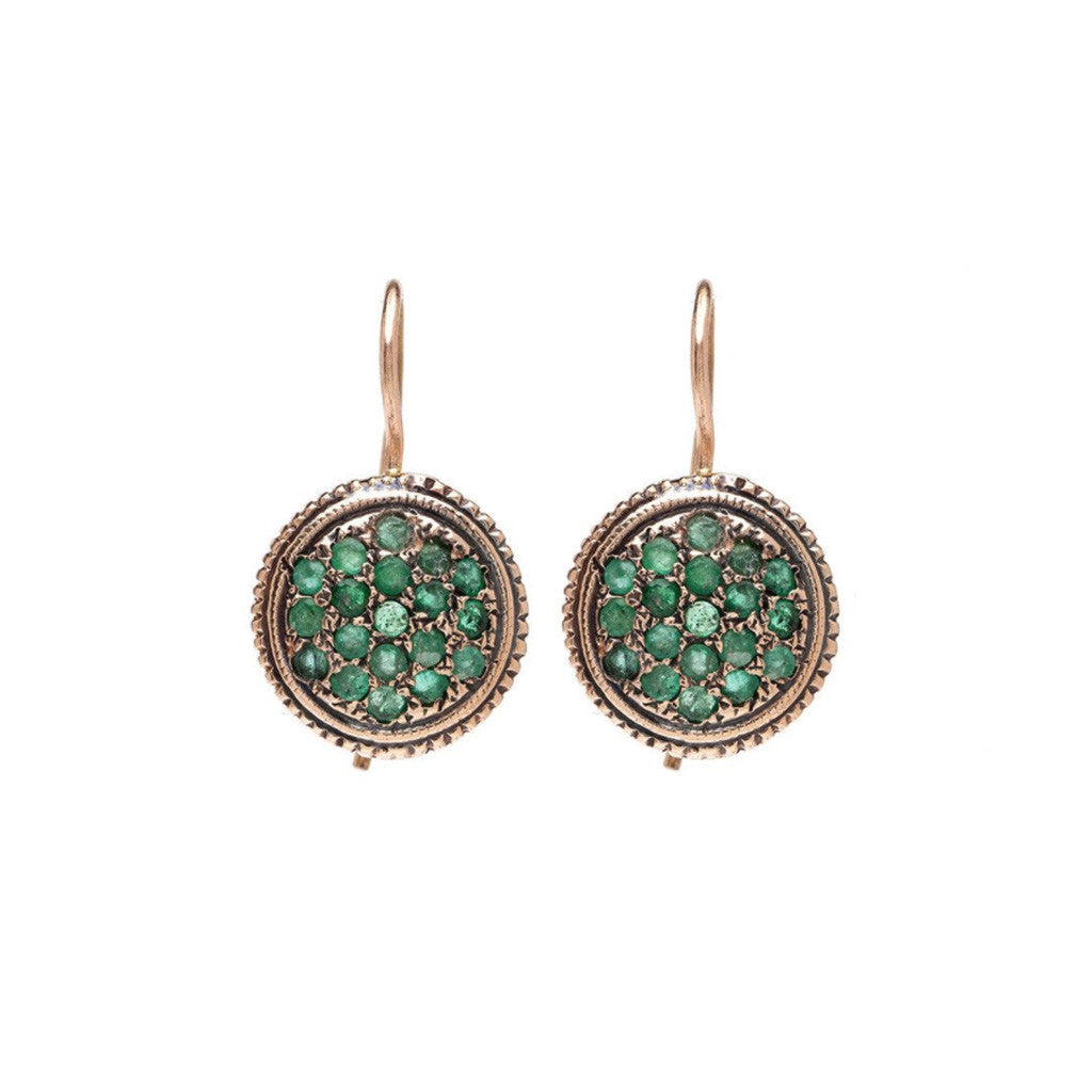Needlepoint Drop Earrings - Emerald