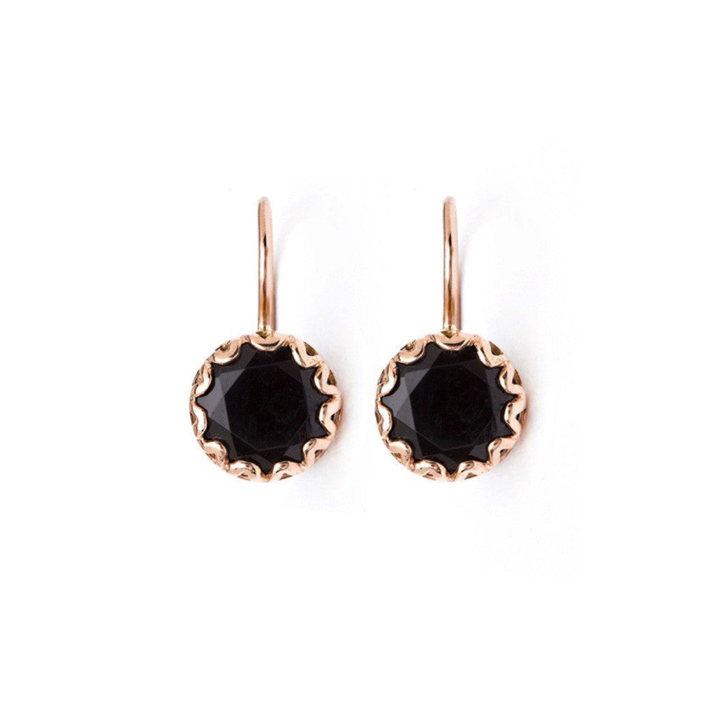 Petite Round Crown-Set Drop Earrings - Onyx