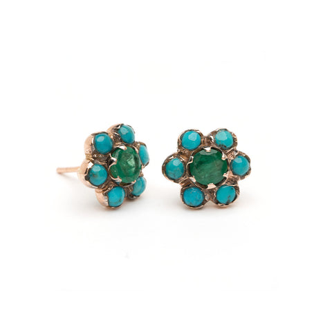 Blossom Stud Earrings - Emerald and Turquoise