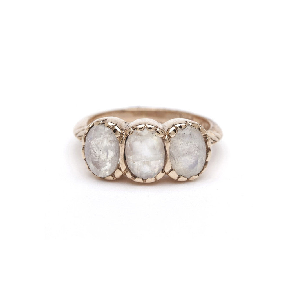 Petite Signature Three-Stone Ring - Moonstone