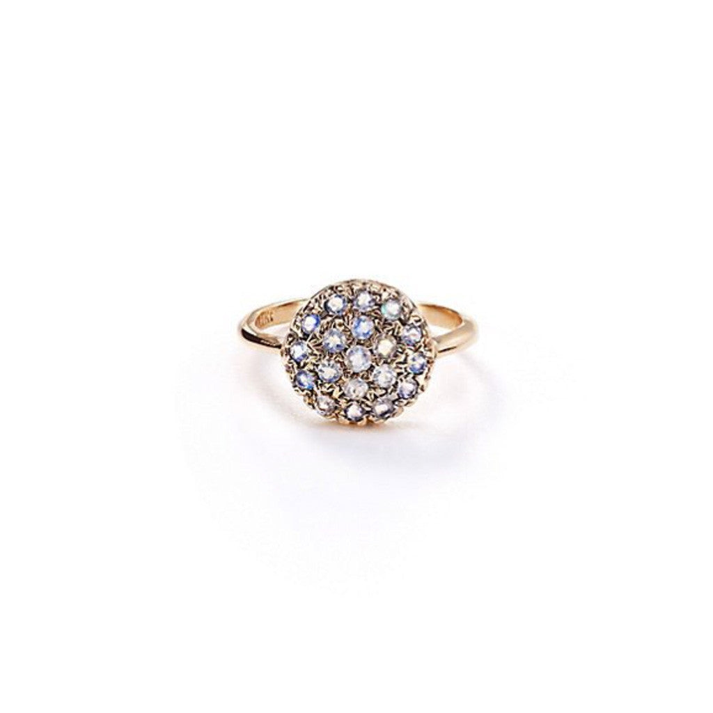 Pavé Disc Ring - Moonstone