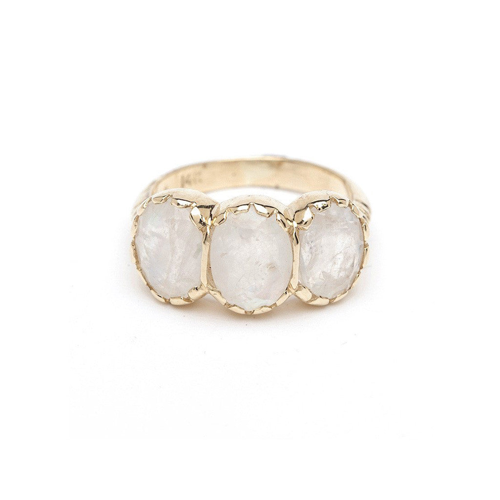 Signature Three-Stone Ring - Moonstone YG