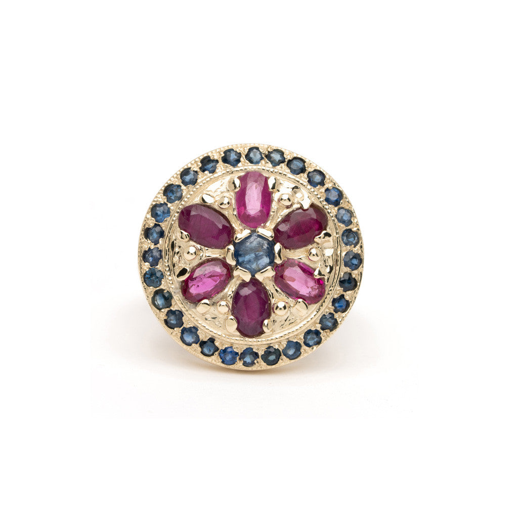 Framed Mandala Ring - Alternating Sapphire with Ruby YG