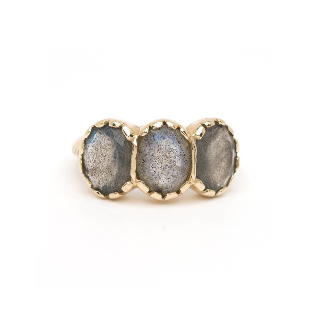 Signature Three-Stone Ring - Labradorite YG