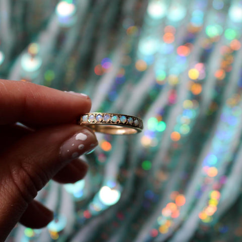 Channel Stacking Ring - Opal Yellow Gold