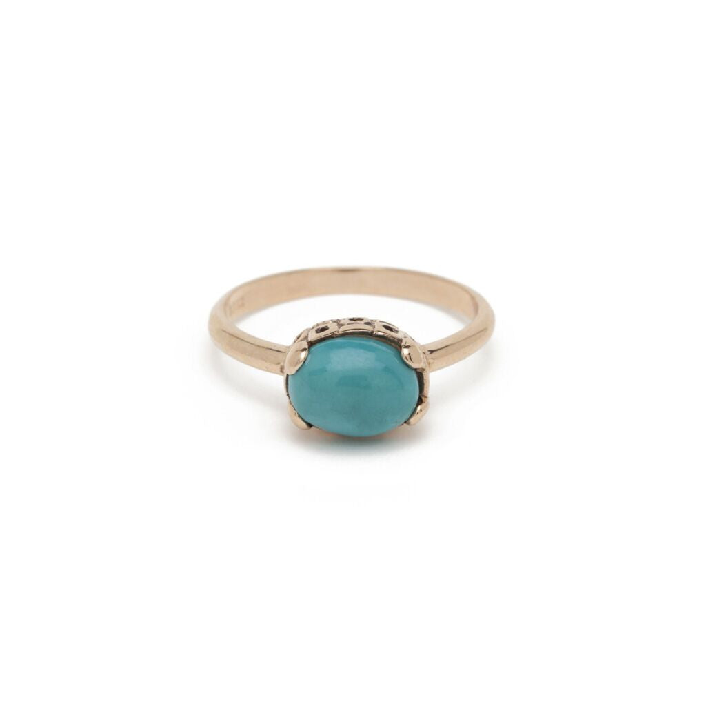 Petite Oval Solitaire Ring - Turquoise