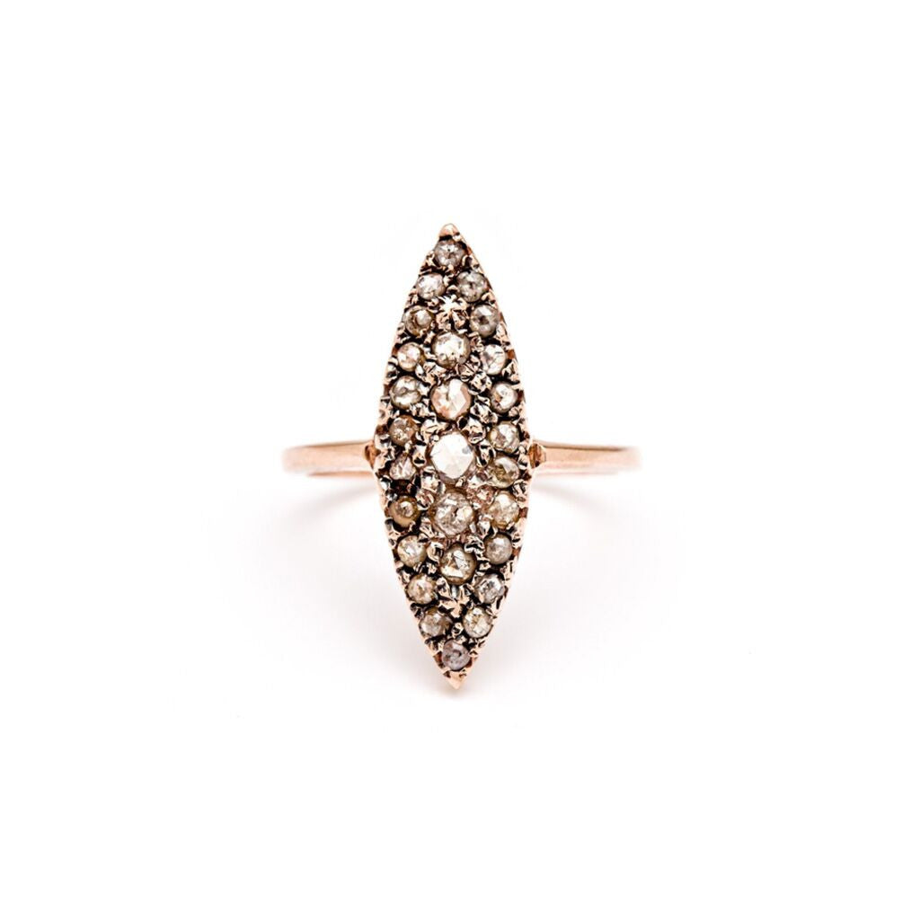 Grande Navette Ring - Rose Cut Diamonds