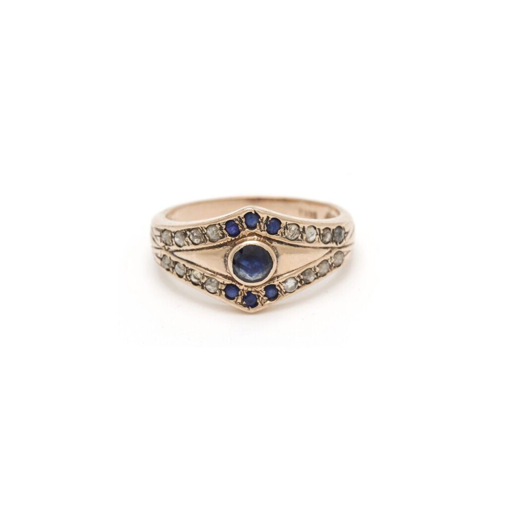 Tiara Evil Eye Ring - Sapphire with Diamond