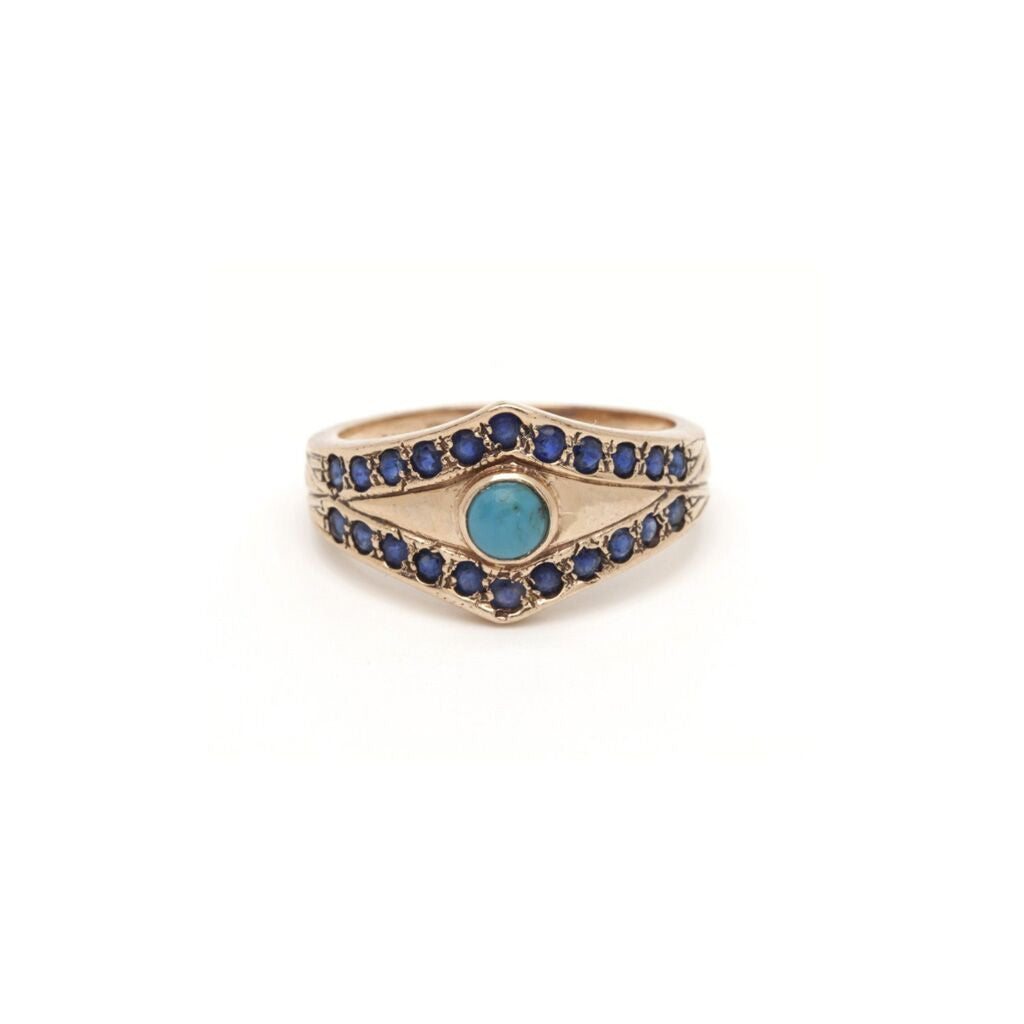 Tiara Evil Eye Ring - Turquoise and Sapphires