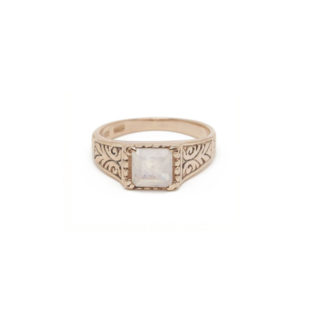 Scrolled Square Solitaire Ring - Moonstone