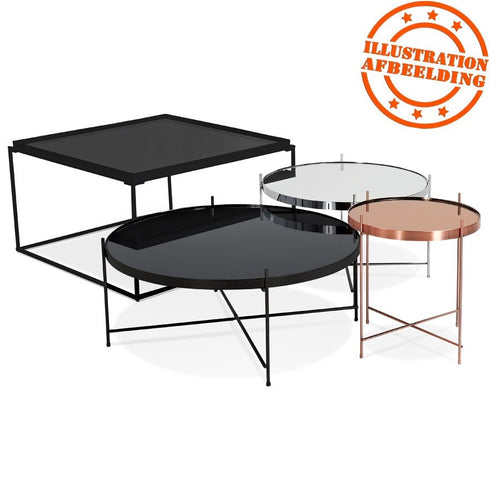 Collection of coffee tables in black, chrome or copper finish. Copper table on picture 2 & 4 = 83 cm x 35 cm