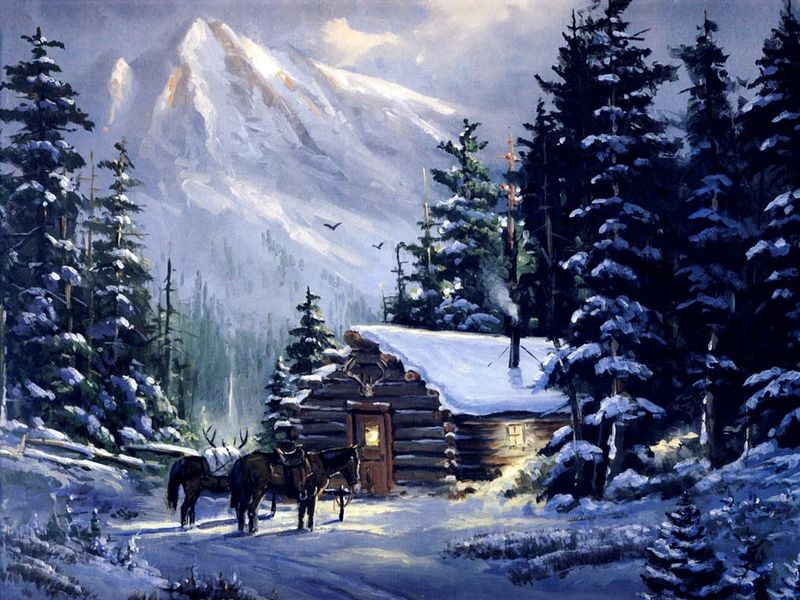 Cabin Horses Diamond Painting Kit - DIY