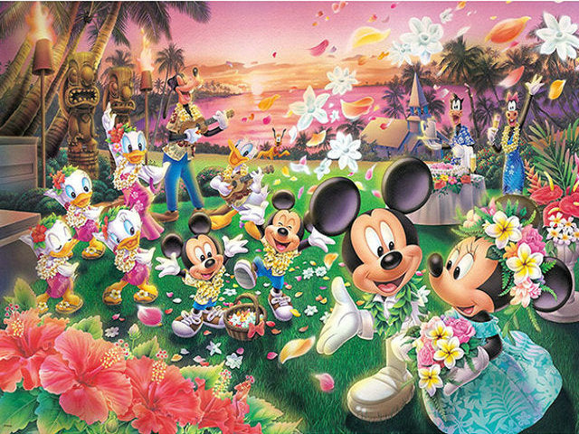Mickey And Minnie Hawaii Diamond Painting Kit - DIY