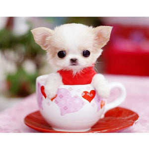 Cute Dog In The Cup Diamond Painting Kit - DIY