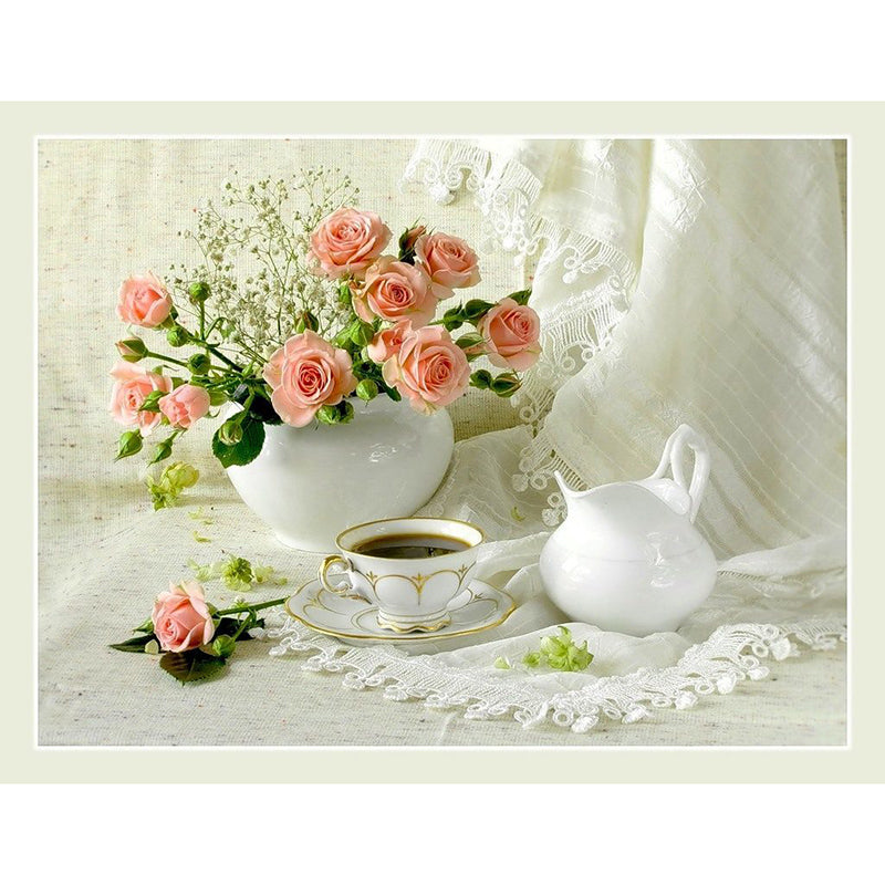 Pink Flowers And Coffee Diamond Painting Kit - DIY