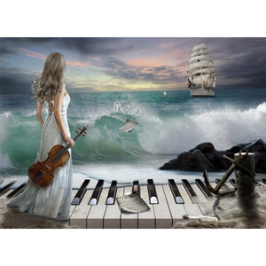Blue Sea Piano and Beauty Women Diamond Painting Kit - DIY