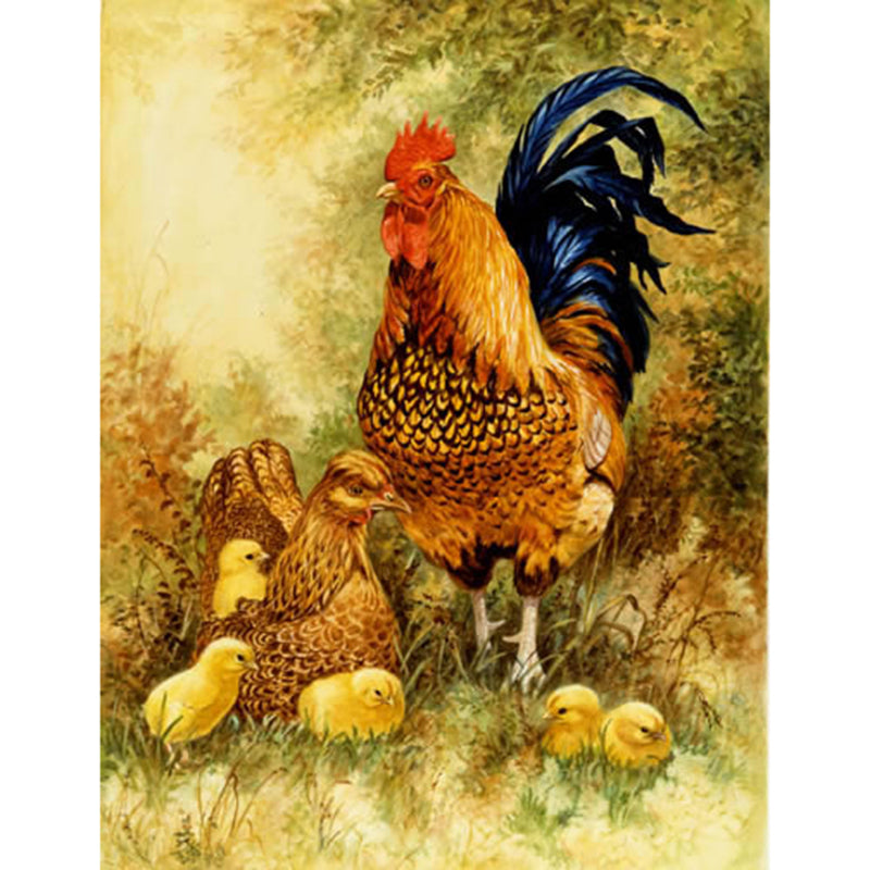 Big rooster and chick Diamond Painting Kit - DIY