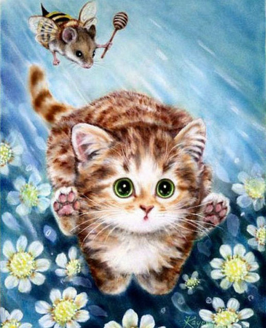 Cat Full Square Diamond Painting Kit - DIY