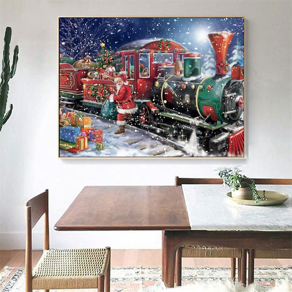 Christmas Santa Claus Train Diamond Painting Kit - DIY