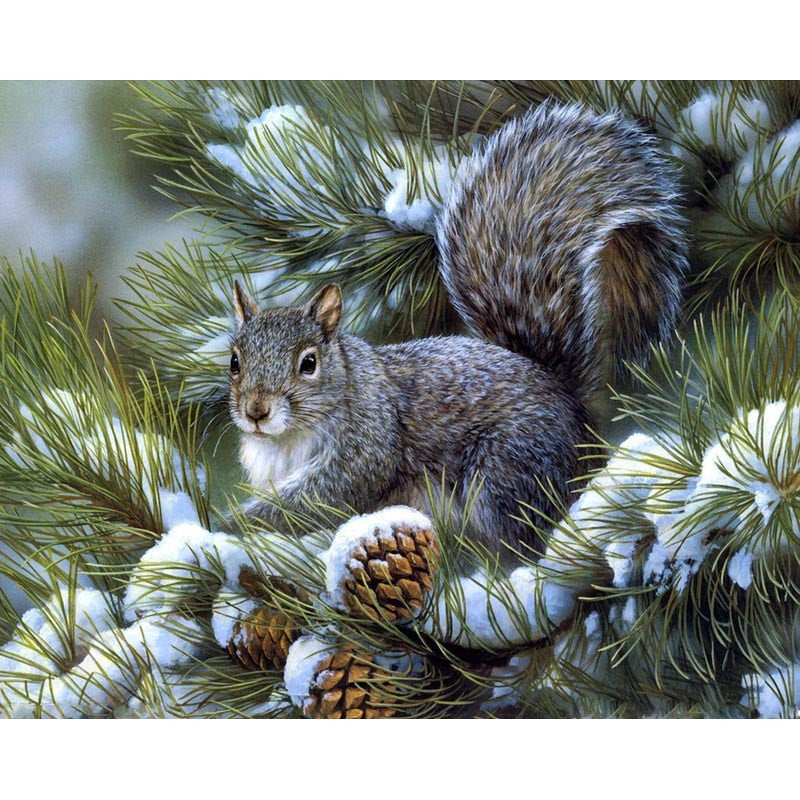 Squirrels Eat Fruit Diamond Painting Kit - DIY