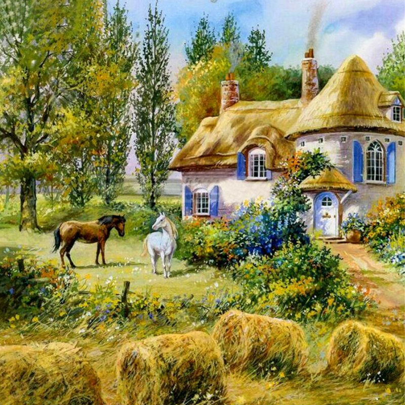 Cabin Horse Diamond Painting Kit - DIY