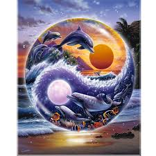 Yin and Yang Dolphins Diamond Painting Kit - DIY