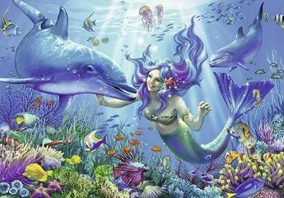 Mermaid And Dolphin Diamond Painting Kit - DIY