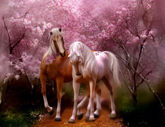 Horses Rose Love Diamond Painting Kit - DIY