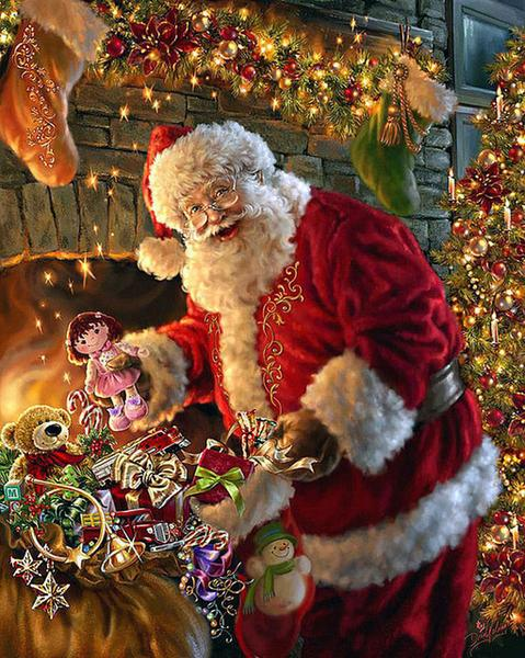 Christmas Santa Claus Cross Stitch Diamond Painting Kit - DIY