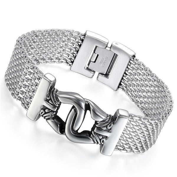 Boniskiss Agrafe Stainless Steel  Bracelet Wild And Intractable Fashion Jewelry Silver