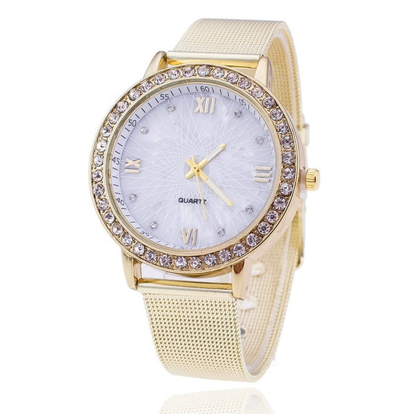 Diamond  Top Brand Luxury Mesh Stainless Steel Quartz Watch