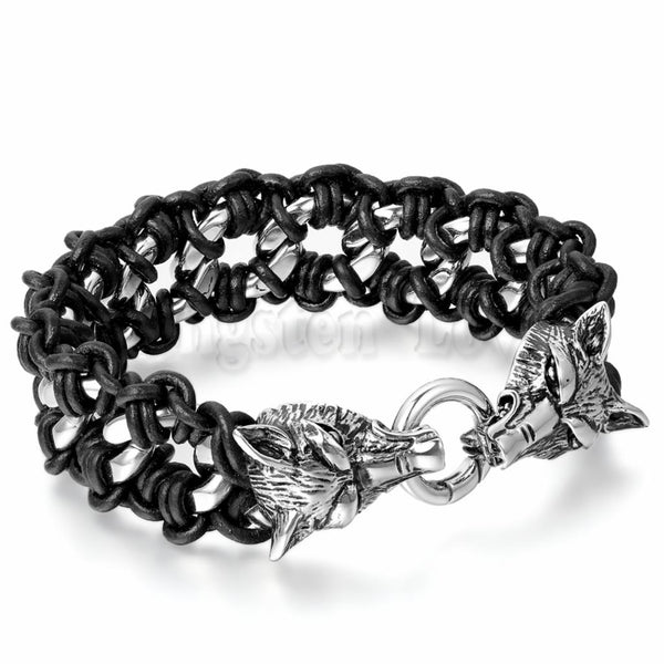 Men's Stainless Steel Black Leather Braided Bracelet Link Silver Wolf Gothic Biker Jewelry 9.2 inch