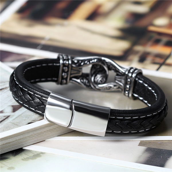 Boniskiss Men Leather Bracelet Braided Rope Bead Charm Wristband Vintage Totem Stainless Steel Magnetic Clasp