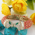 Bella Fashion Red Enamel Panther Leopard Kiss Bracelets & Bangles