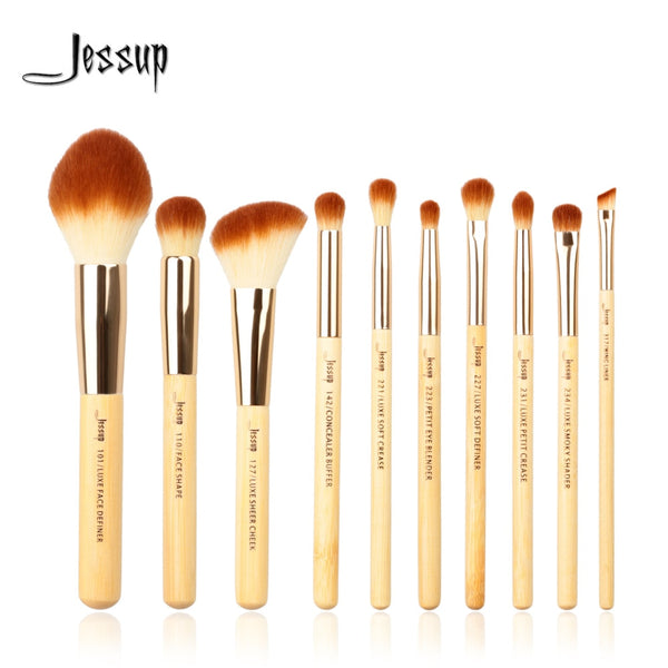 Jessup brushes 10pcs Bamboo Professional Makeup Brushes Brush set Beauty Make up Tool kit