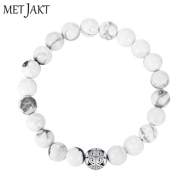 MetJakt Casual Fashion 925 Sterling Silver Double Luck&Long Life&Natural